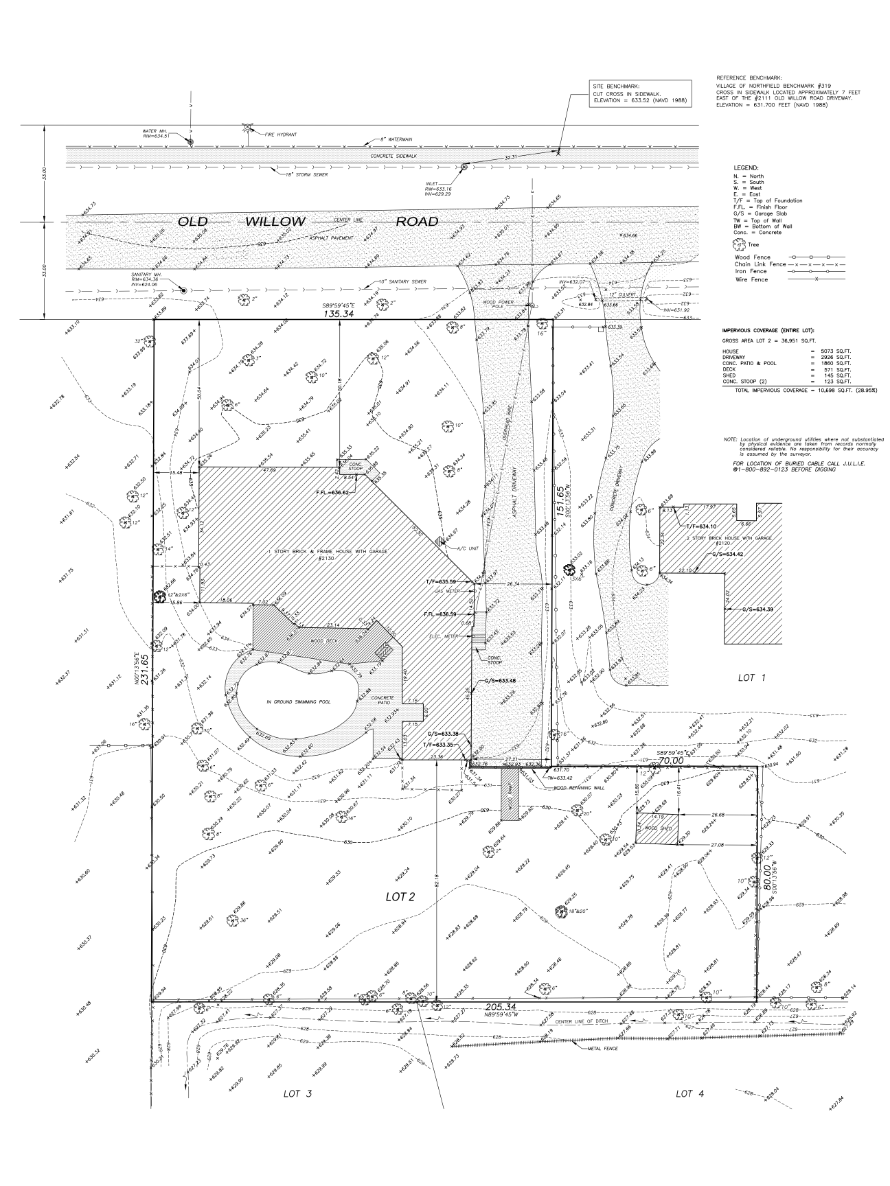 plat of topography/ topographic survey